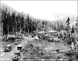 Automobiles gathered at the summit of Stevens Pass, ca. 1929