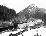 Great Northern Railway electric engine leaving the west portal of the Cascade Tunnel, February 12,...