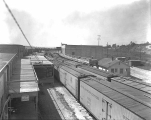 Fruit Growers Express boxcars at train yard, Monroe, ca. 1931