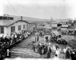 Machine shop and workers, C.H.Frye's lettuce farm, Monroe, ca. 1931