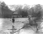 Main St. in three feet of water during a flood, Index, February 26, 1932