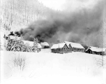 Burning the construction camp at Berne, 1930