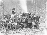 Climax locomotive with logging crew, Snohomish County, ca. 1911