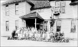 School children in front of school, Startup, 1911