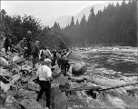 Al Fausset's boat with spectators near Eagle Falls, ca. 1926