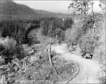 Automobile on road as seen from Devil's Elbow, ca. 1926