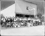 Group portrait of I. W. W. members in front of Index Theatre, ca. 1923
