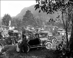 Parked cars at Camp Serene campground, ca. 1926