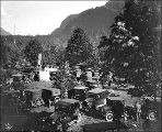 Parked cars and campers at Camp Serene campground, ca. 1925