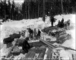 Constructing timber frames for the tunnel in Mill Creek camp, ca. 1927