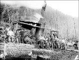 Donkey engine and loging crew, Snohomish County, ca. 1911