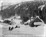 Residential area during winter, Mill Creek camp, ca. 1927