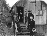 Engineers and surveyors on the site of the Great Northern Railway Cascade Tunnel construction, ca....