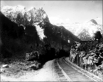 Looking east from Index along railroad tracks toward Mt. Persis and Mt. Index, ca. 1926