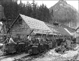 Electric train carrying workers and supplies at the west portal, Scenic, ca. 1927