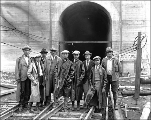 Inspectors at the east portal, Berne, ca. 1927