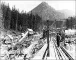 Construction at the west portal of the Cascade Tunnel, Scenic, August 17, 1927