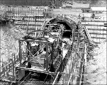 Concreting plant at mouth of tunnel, east portal, ca. 1927