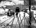 Officials posted outside east portal, Berne, 1927