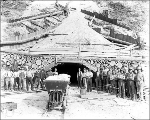 West portal of the Chumstick Tunnel showing air hoist engine, ca. 1927