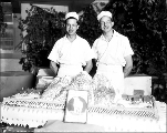 Chefs and cake for the breakthrough party, October 20, 1928
