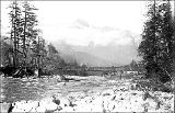 Tram bridge across the Skykomish River at Index, ca. 1912