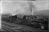 Gold Bar Lumber Company with railroad tracks in foreground, ca. 1913