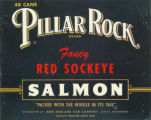 Pillar Rock Brand Fancy Red Sockeye Salmon canning label, ca. 1970s-1980s