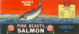 Pink Beauty Brand Salmon canning label, ca. 1970s-1980s
