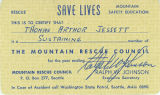 Ralph Johnson letter to Thomas Jessett thanking him for his support of the Mountain Rescue Council...