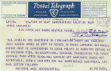 Japanese American Citizens League (JACL) telegram to James Sakamoto, alerting him that Japanese...