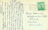 Lefty Sasaki postcard to the Camp Harmony Headquarters Staff describing his experiences working in...
