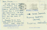 Mike and George postcard to James Sakamoto regarding their progress advocating for the rights of...