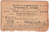 Potenciano P. Columna notice of classification card, September 6, 1945