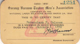 Socony Vacuum Tanker Association membership card for Potenciano Parin Columna, 1952