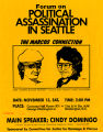 Forum on political assassination poster featuring Cindy Domingo as main speaker, November 13, 1982