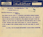 H.B. Gill of the International Seamen's Union telegram to Senator Miles Poindexter regarding...