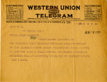 West Washington Women's Christian Temperance Union telegram to Senator Miles Poindexter regarding...