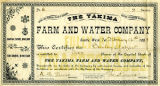 Yakima Farm and Water Company stock certificate issued to Bailey Gatzert, April 7, 1885
