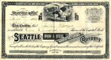 Seattle Iron and Steel Manufacturing Company stock certificate issued to Bailey Gatzert, September...