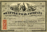 Seattle Coal Company stock certificate issued to Bailey Gatzert, August 1, 1870