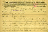 Seattle residents telegram to Washington Territory Governor Semple regarding women's suffage,...