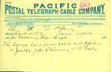 Telegram sent by three Seattle residents to Washington Territory Governor Semple regarding women's...