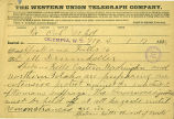 Spokane Falls Board of Trade telegram to D.M. Drumheller regarding women's suffage, January 17,...
