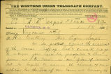 Vancouver residents telegram to Washington Territory Governor Semple regarding women's suffage,...