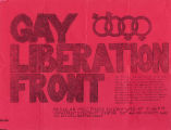 Gay Liberation Front flier, ca. 1970s