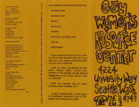 Gay Women's Resource Center brochure, ca. 1971-1973