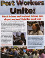 Truck drivers and taxi cab drivers join airport workers fight for good jobs, flier, 2011-2014