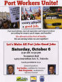 Informational flier about Port Workers Unite! speaker event, October 6th, 2012