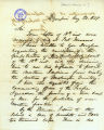 Secretary of Washington Territory, Charles H. Mason, letter to Winfield Scott Ebey, regarding the...